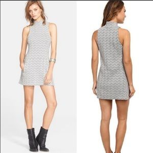 Free People gray zigzag high neck mini dress smll